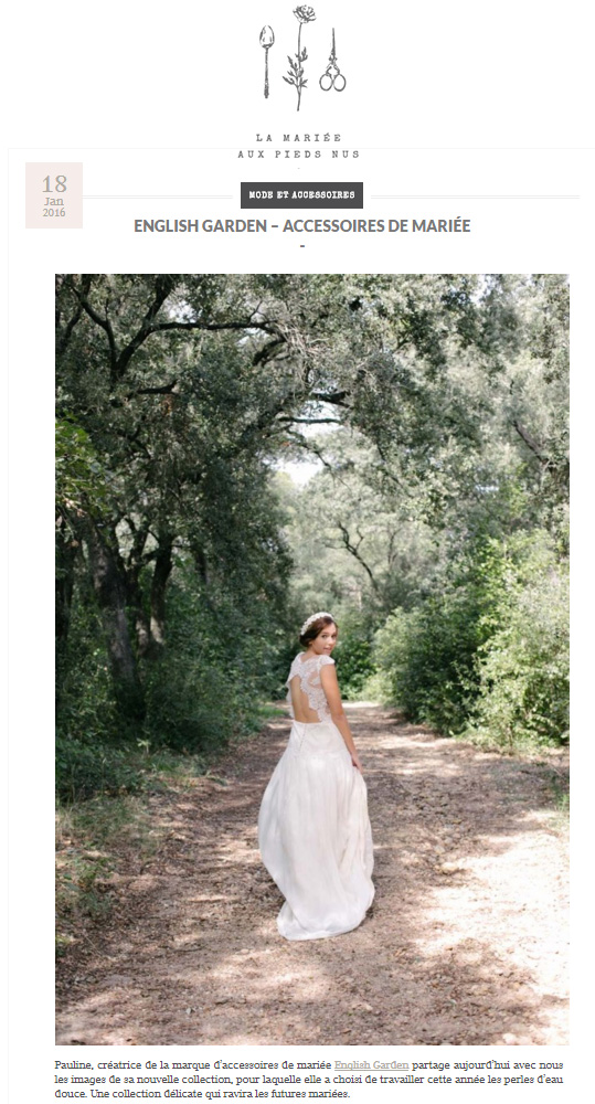 Article La mariée aux pieds nus